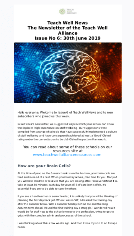 Teach Well Alliance Teach Well News  Issue 6 June 2019 Brain Cell Team-Building