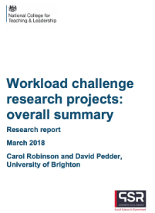 Workload Challenge Research Projects: Overall Summary Teach Well Alliance Case Study DfE Workload Challenge March 2018