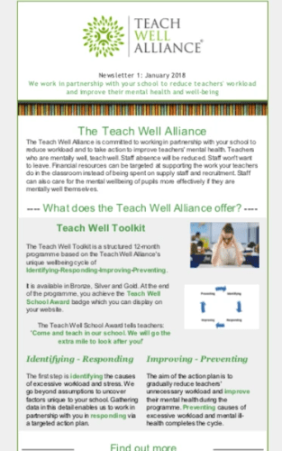 Teach Well Alliance Teach Well News Issue No. 1 January 2018 Where it All Began