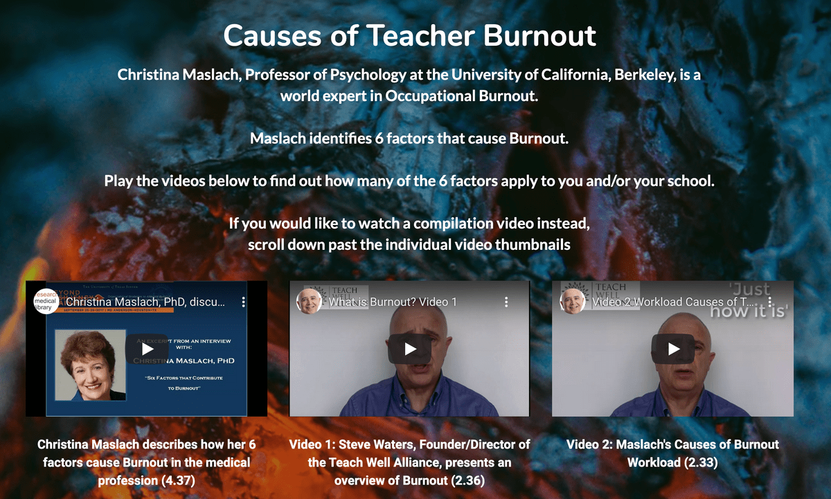 Causes of Teacher Burnout Page on Teach Well Alliance Website