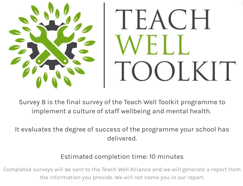 Step 25: Staff Complete Survey 8: Staff Final Evaluation of Teach Well Toolkit