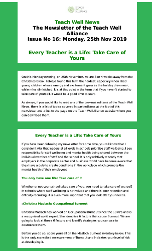 Issue 16 Teach Well Alliance Newsletter Every Teacher is a Life Take Care of Yours