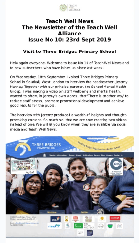 Teach Well News Issue 10 Visit to Three Bridges Primary School in Southall, Londoni