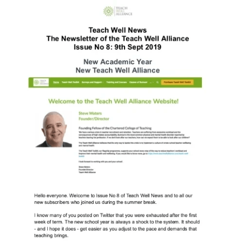 Teach Well News Issue No 9 9th Sept 2019 New Academic Year New Teach Well Alliance