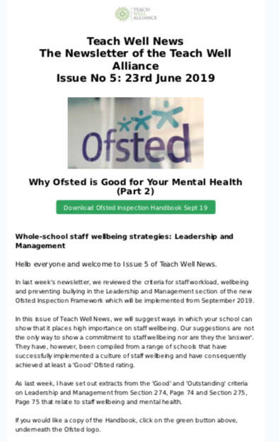 Teach Well News Issue 5 June 2019 Why Ofsted is Good for Your Mental Health (Part 2)