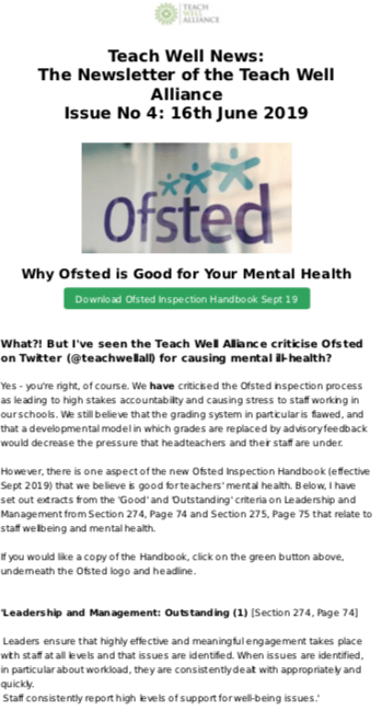 Teach Well Alliance Teach Well News Issue 4 June 2019 Why Ofsted is Good for Your Mental Health (Part 1)