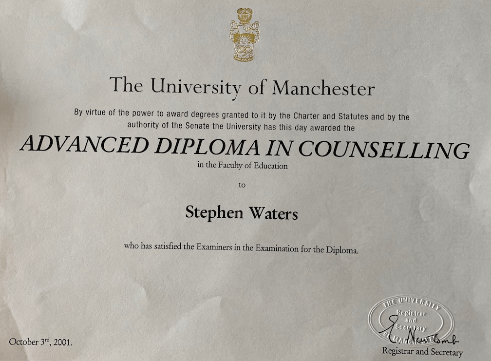 Steve Waters Advanced Diploma in Counselling  University of Manchester  BAC Accredited 2001