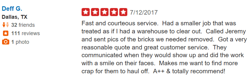 Yelp review from Deff G in Dallas, TX