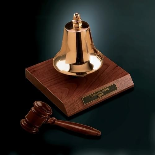 Gavel Bell w/Gavel Award Trophy