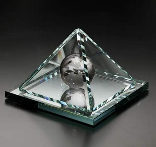 Hollow Pyramid with Globe Award Trophy