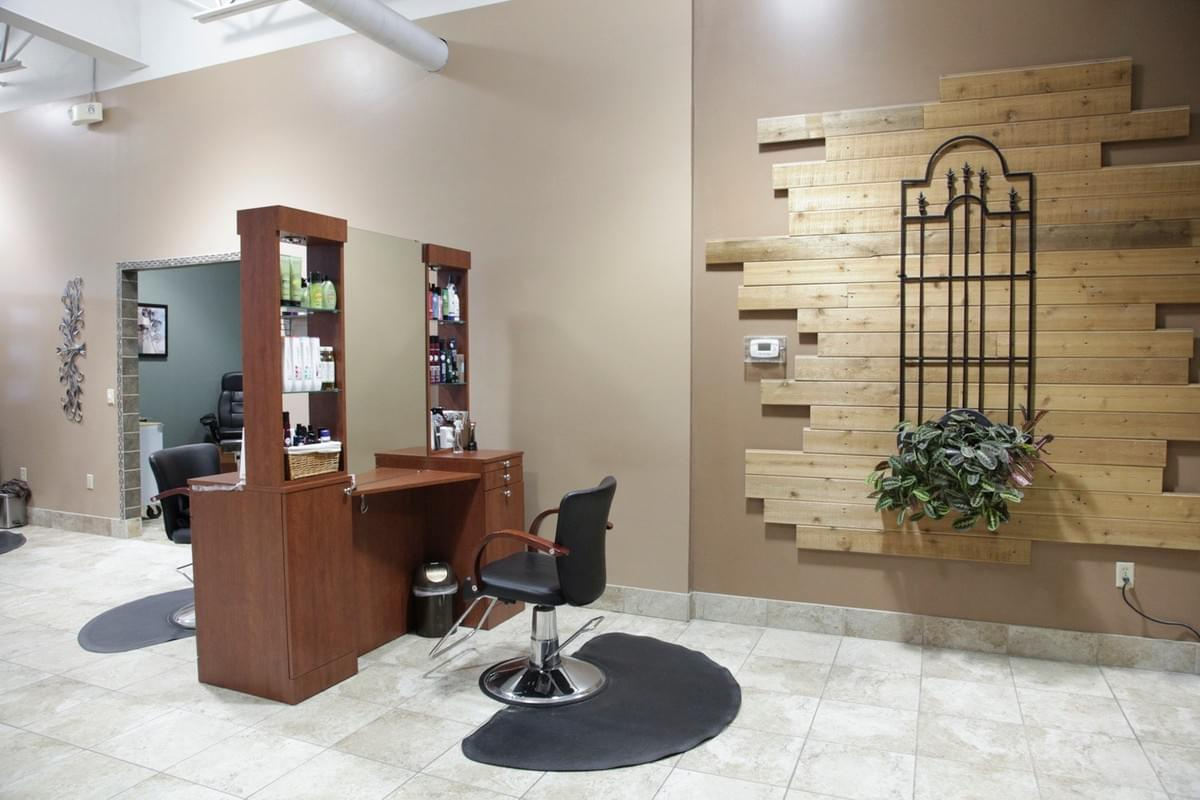 A two-sided hair station at the light and airy Tranquility Spa Salon in Brooklyn Park, MN