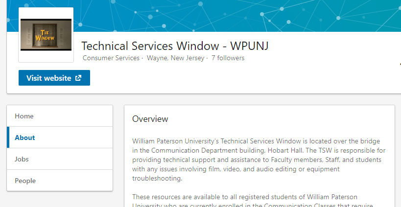 Technical Services Window - WPUNJ