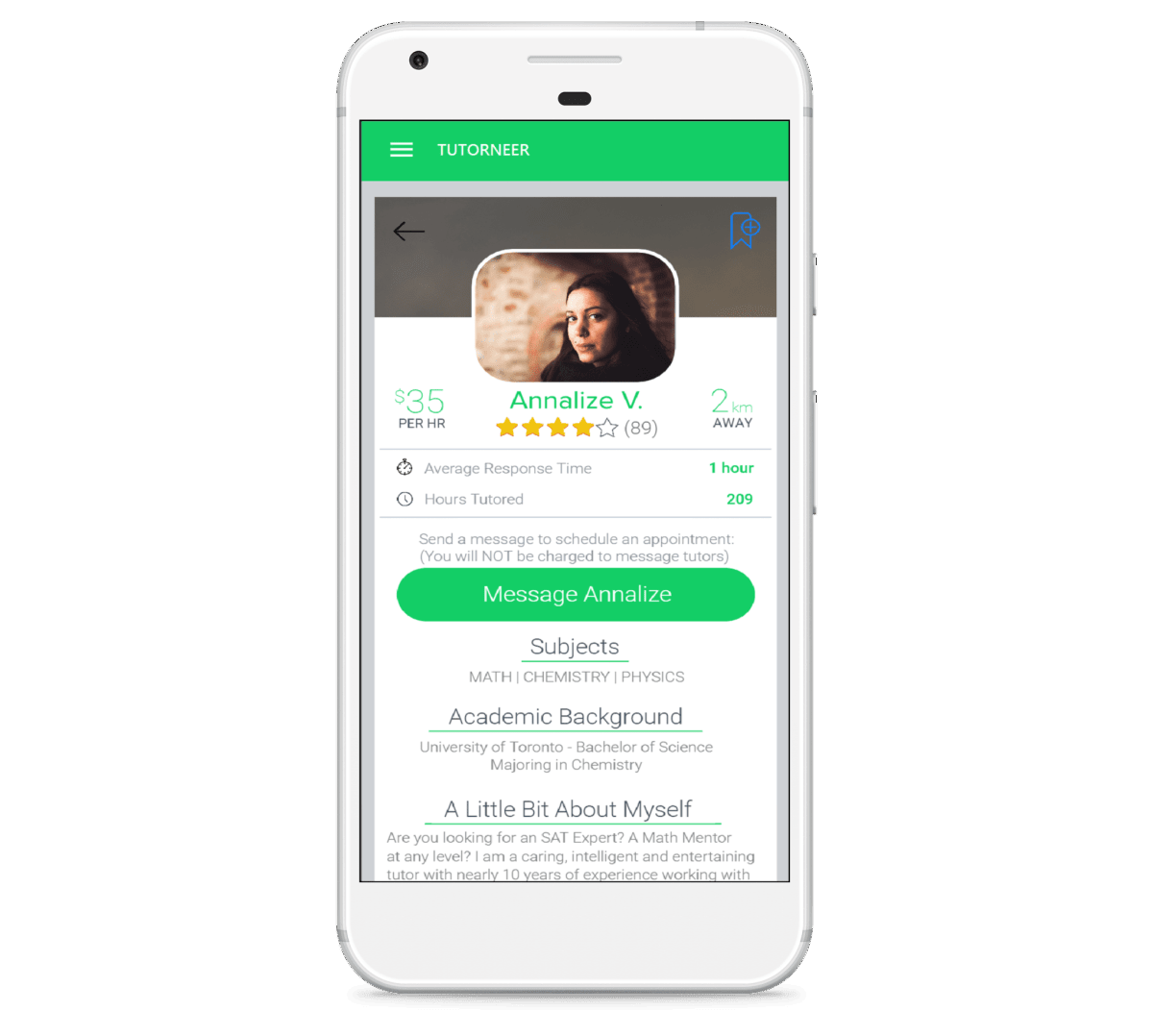 Read detailed profiles for on-demand tutors in Toronto with the Tutorneer app