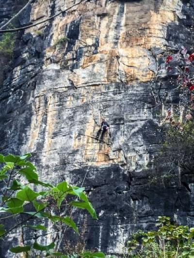 Image showing climber climbing a route at the Egg in Yangshuo, China.