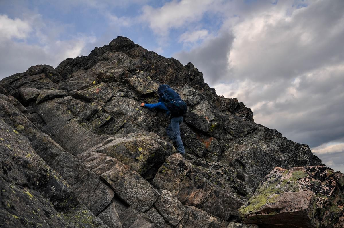 Image showing Kevin scrambling along Besseggen Ridge, Jotunheimen National Park, Norway.