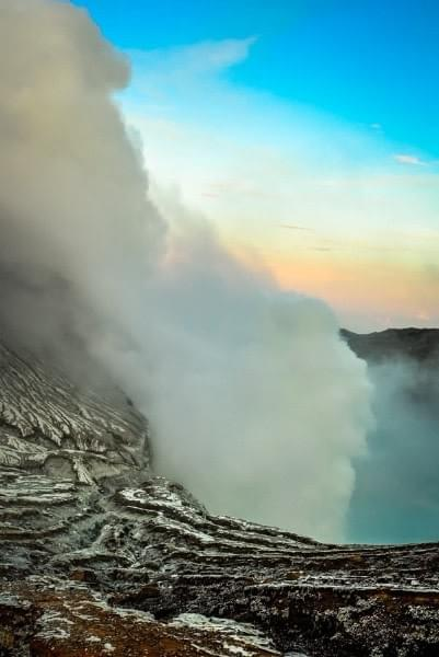 Image showing the crater and lake of the active Ijen volcano in East Java, Indonesia.