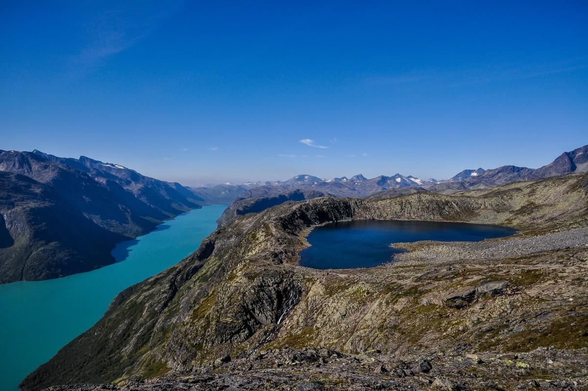 Image showing the Gjende river from Besseggen Ridge, Jotunheimen National Park, Norway.