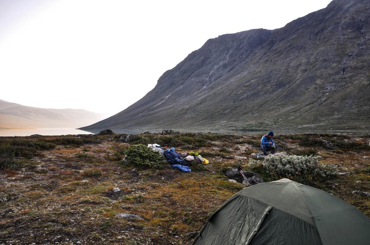 Image showing our camp spot at Russvatnet lake in Jotunheimen National Park, Norway.