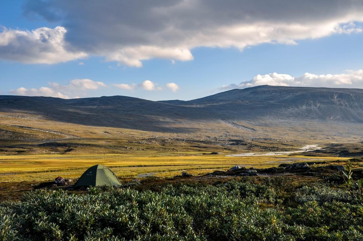 Image showing our tent in Glitterheim, Jotunheimen National Park, Norway.