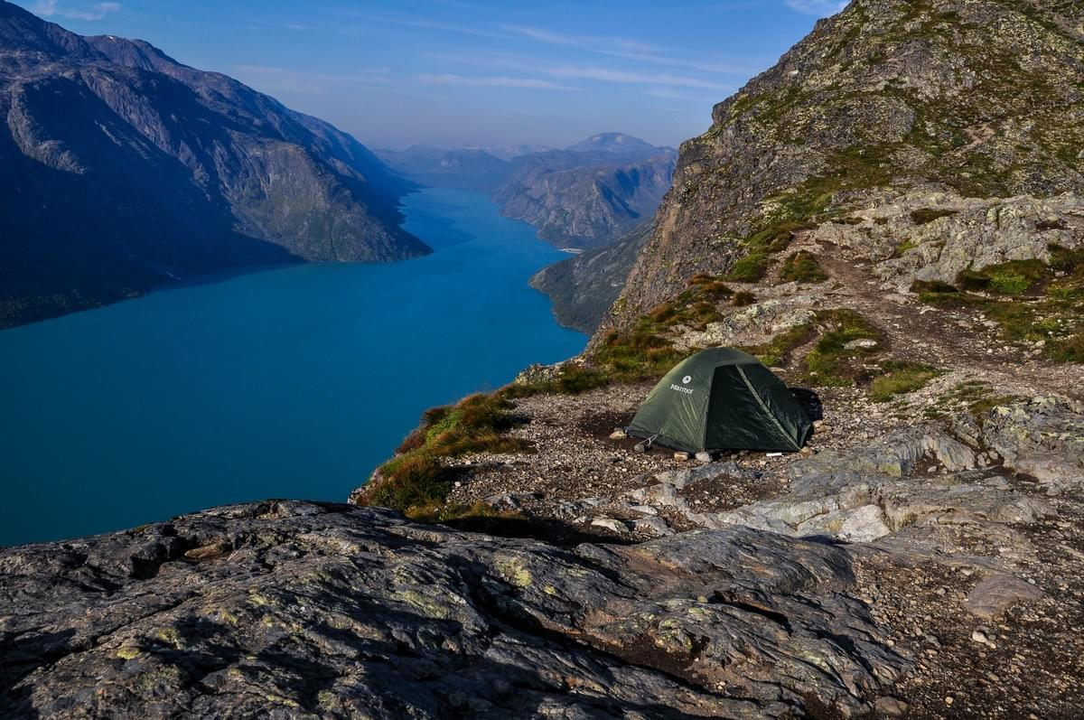Image showing our tent at Besseggen Ridge, Jotunheimen National Park, Norway.