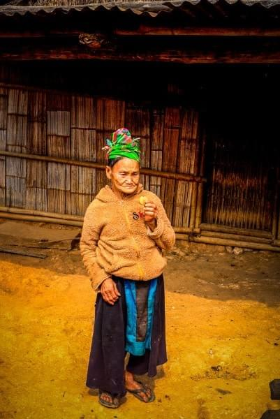 Image showing an old lady in a remote village near Luang Prabang Laos