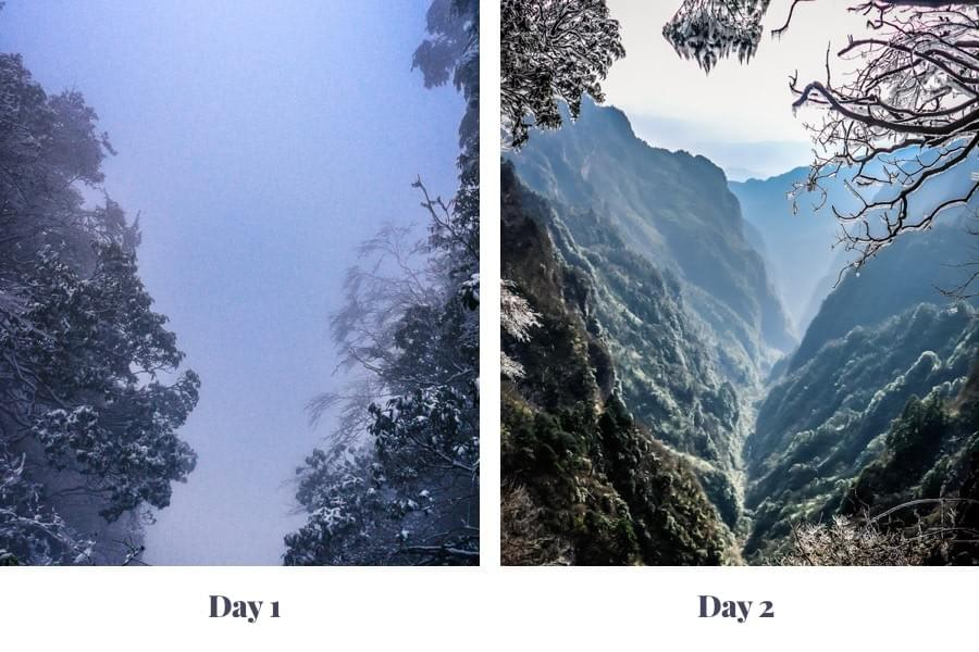 Image showing Image showing Mount Emei, once in fog and once during sunlight near Chengdu in Sichuan Province, China.