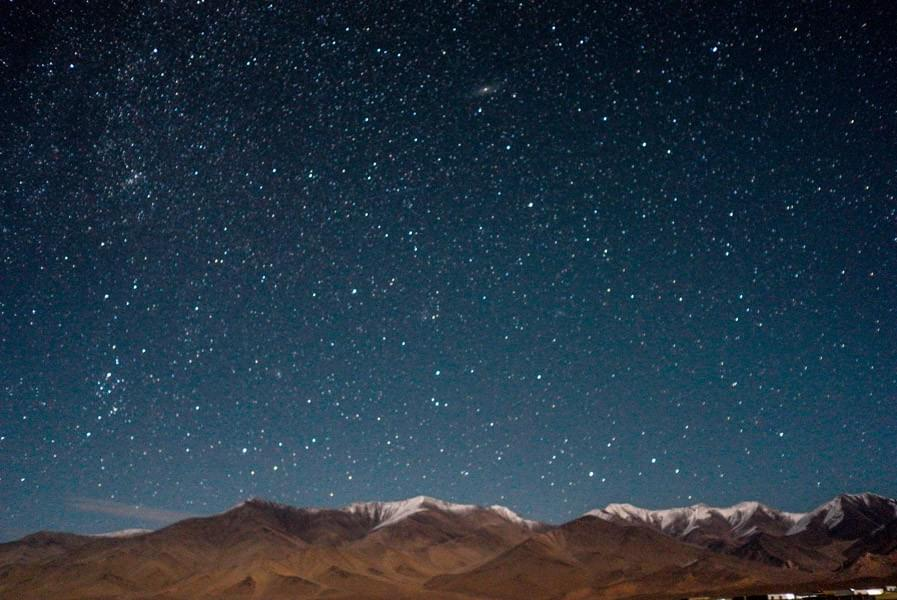 Image showing the starry night sky and milky way at the Karakul lake in Tajikistan.