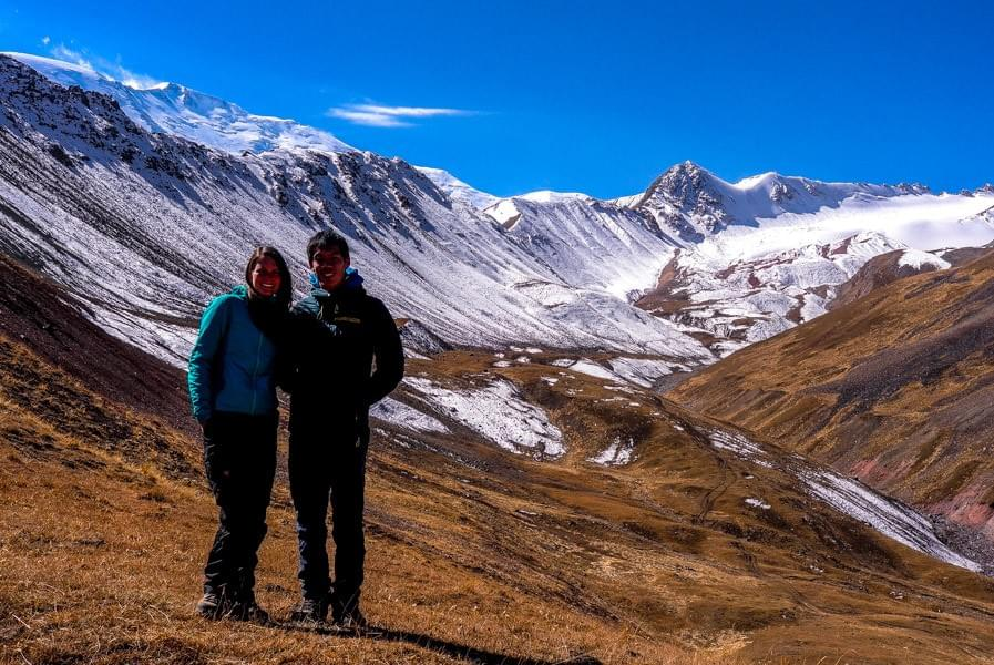 Image showing Kevin and Nicole in front of Peak Lenin in Kyrgyzstan.