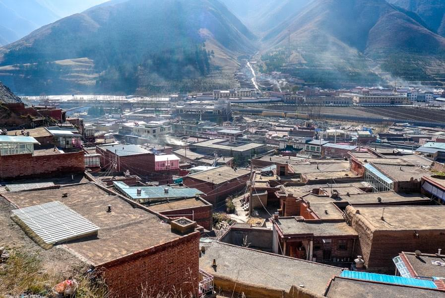 Image showing the Labrang monastery and its surrounding mountains in Xiahe, China.