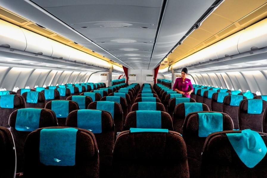 Image showing airbus airplane from Garuda Indonesia from the inside; empty flight from Chengdu to Bali.