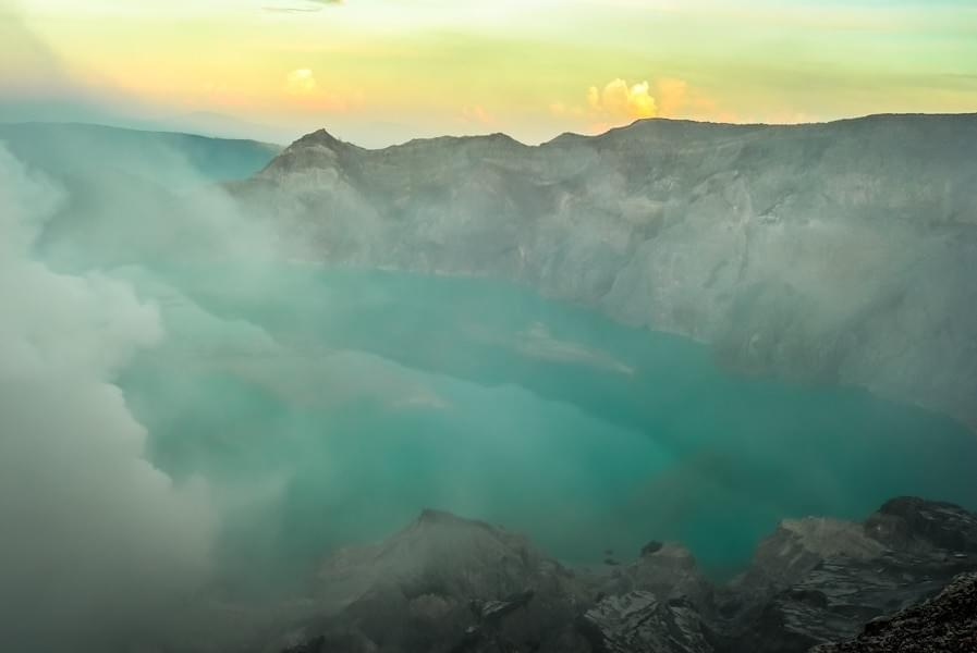 Image showing the acidic crater lake of the active Ijen volcano in East Java, Indonesia.