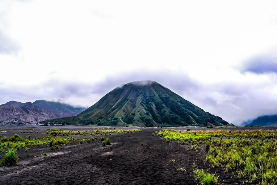 Image showing the green Tengger volcano next to Mount Bromo in the Bromo Tengger Semeru National Park in East Java, Indonesia.