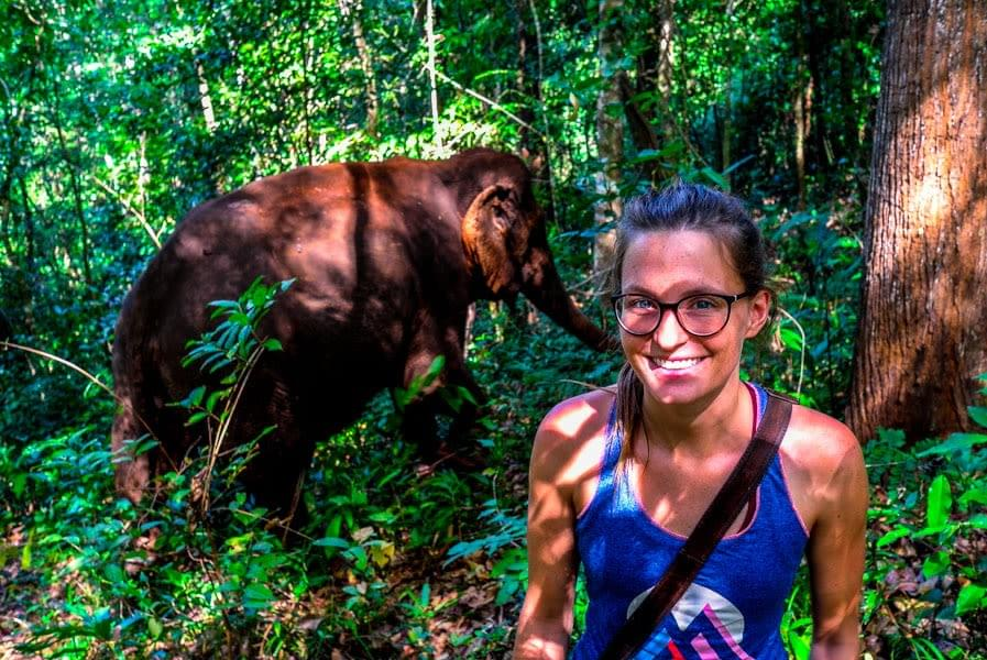 Image showing Nicole and a rescued former working elephant in the protected forest of the Elephant Valley Project (EVP) in Sen Monorom, Cambodia.