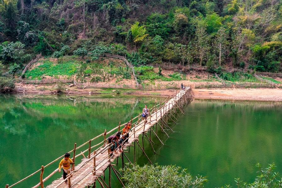 Image showing wooden bridge at the end of our hike near Luang Prabang