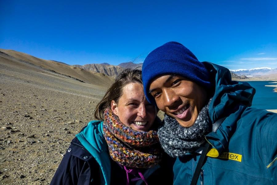 Image showing Kevin and Nicole while hiking around Karakul lake and hitchhiking the Karakoram Highway from Kashgar to Tashkurgan in China.