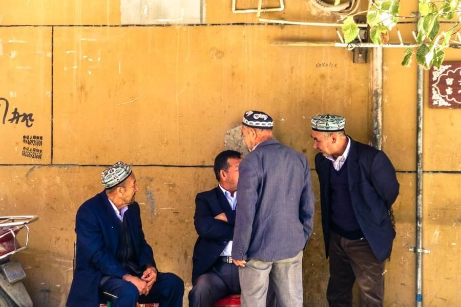 Image showing a group of old men of Uighur ethnicity in Kashgar, China.