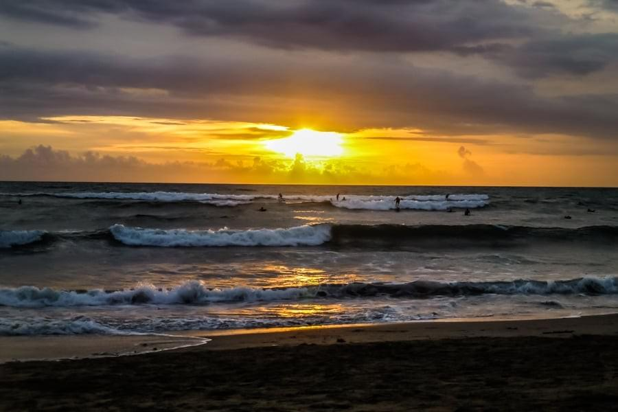Image showing a beautiful sunset at Batu Bolong (Old Man's) beach in Canggu on Bali, Indonesia.