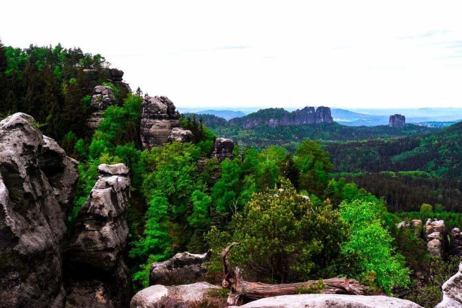 View from the top of a hike in the Saxon Switzerland, the via ferrata Häntzschelstiege.