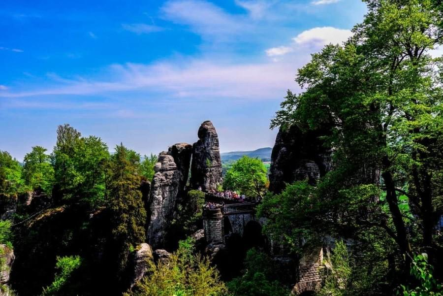 Image showing the view from the hike to the Bastei Bridge in the Saxon Switzerland.