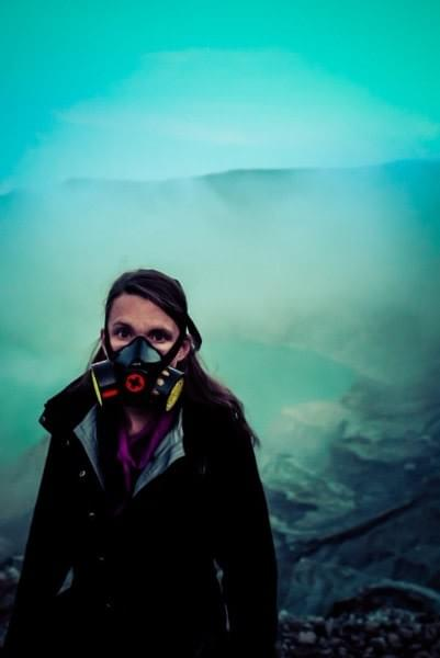 Image showing Nicole wearing a gas mask during the hike into the Ijen volcano crater in East Java, Indonesia.