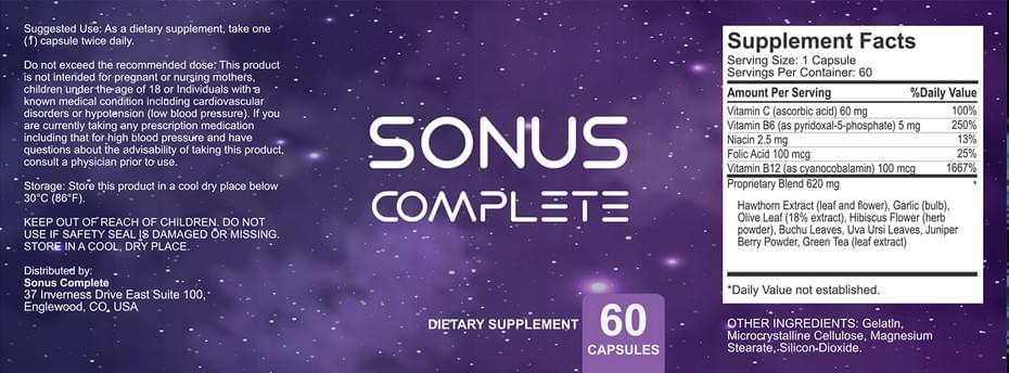 sonus complete supplement ingredients