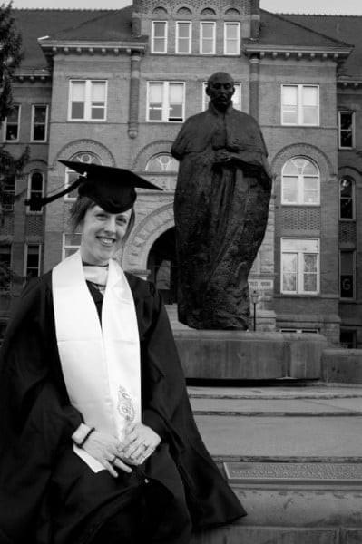 Dena Rosko MA graduation in front  of College Hall