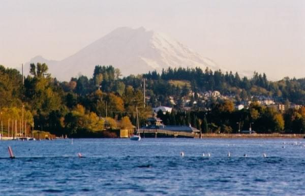Mount Rainier vista via Gene Coulon Memorial Beach Park, Renton, Wash.