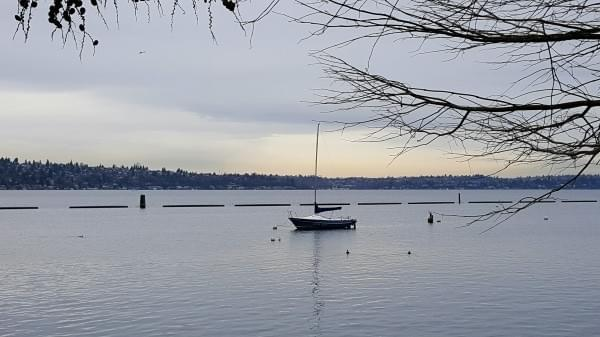 Sailboat at Gene Coulon Beach Memorial Park, Renton, Wash., December 2016