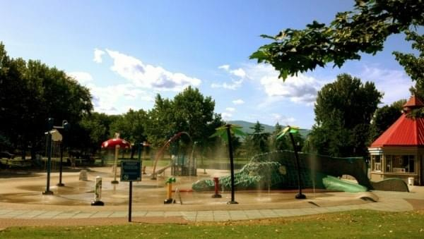 Waterpark splash pad for kids at Kelowna, BC, Canada