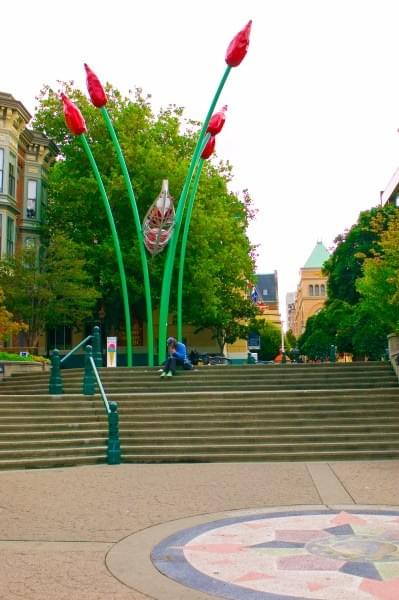 Tulip sculpture at Bastian Square, Victoria, BC, Canada