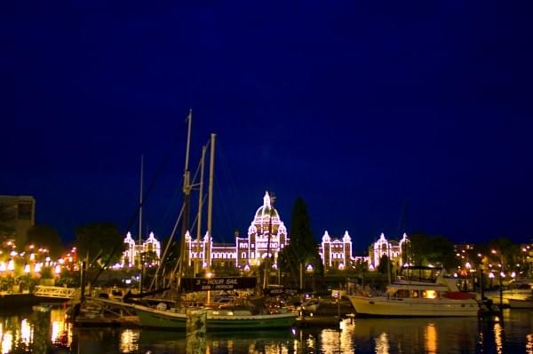 Parliament Building at night, Victoria, BC, Canada