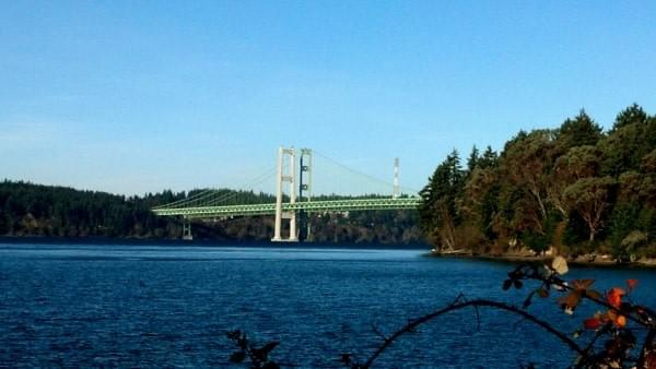 Tacoma Narrows Bridge via Titlow Beach, Tacoma, Wash.