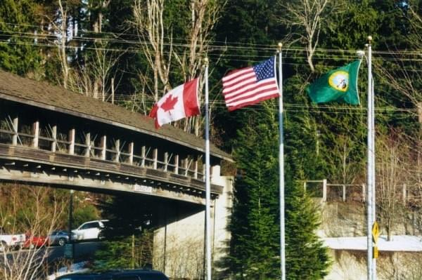 Flags at Snoqualmie Falls, North Bend, Wash.