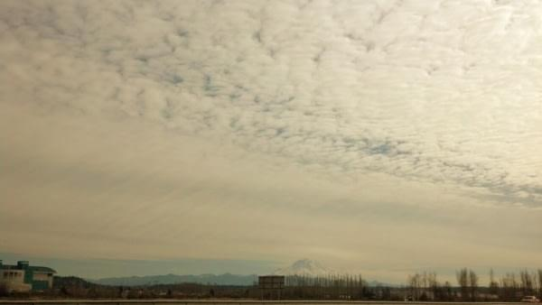 Mt. Rainier under cloud cover via Emerald Downs, Auburn, Wash.